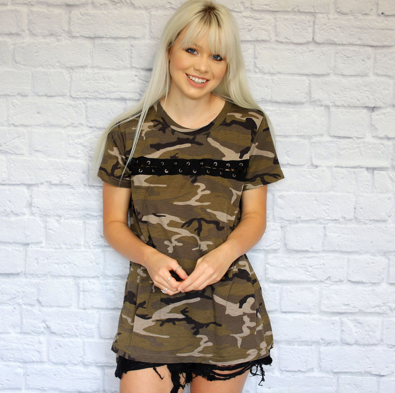 Lace Up Camo Top