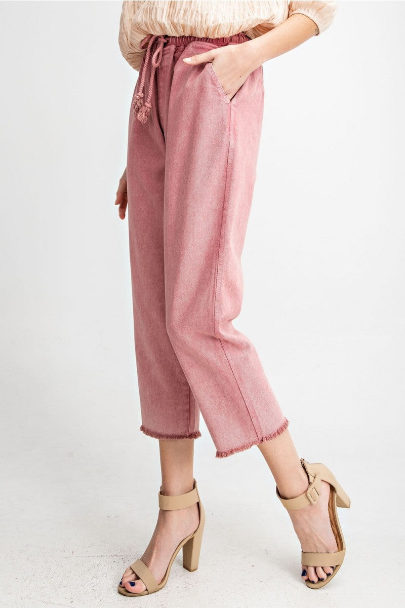 Pink Mineral Washed Jean Pants