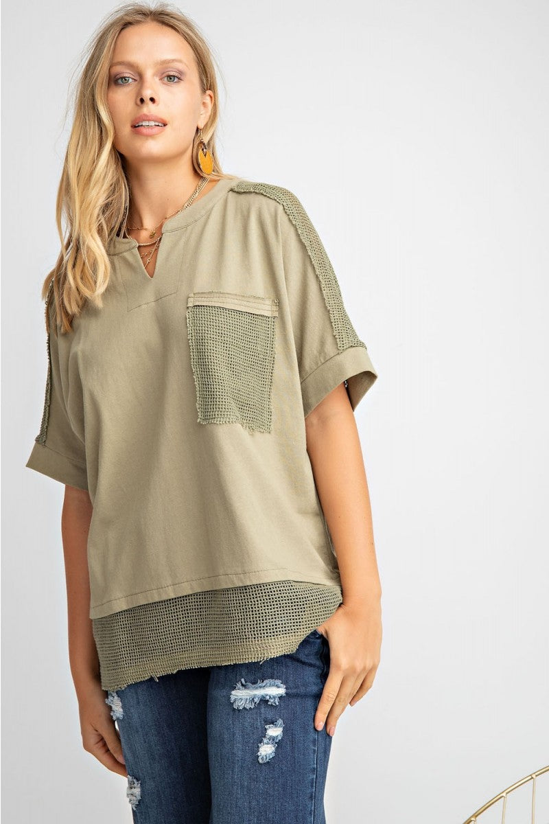 Mesh Contrast Olive Top