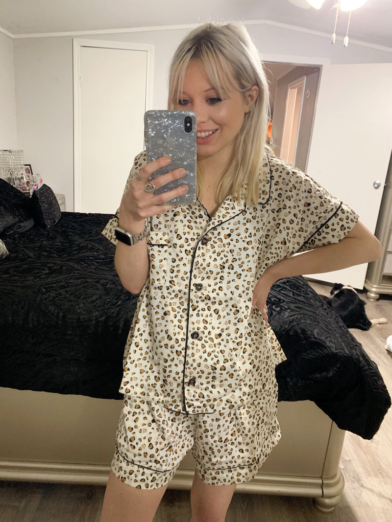 Cream Leopard Pajama Set