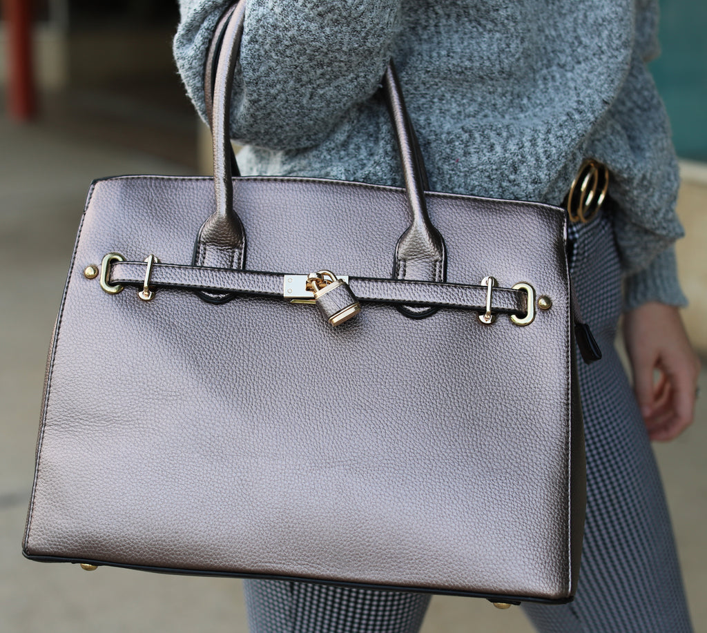 Pewter Belted Lock Purse