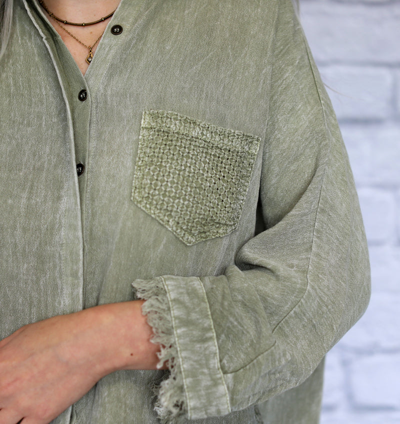 Mineral Washed Button Up Top