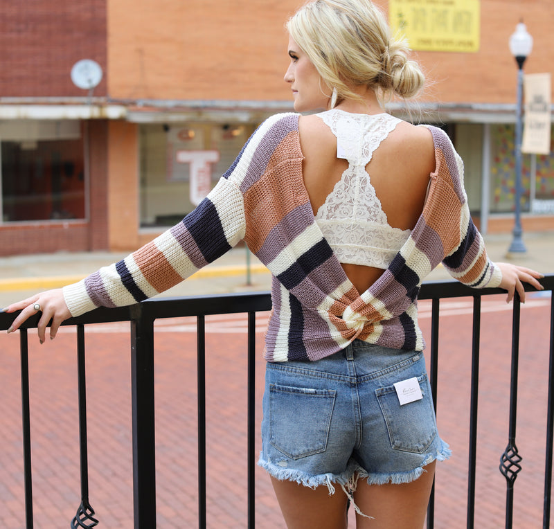 Twisted Back Stripe Sweater