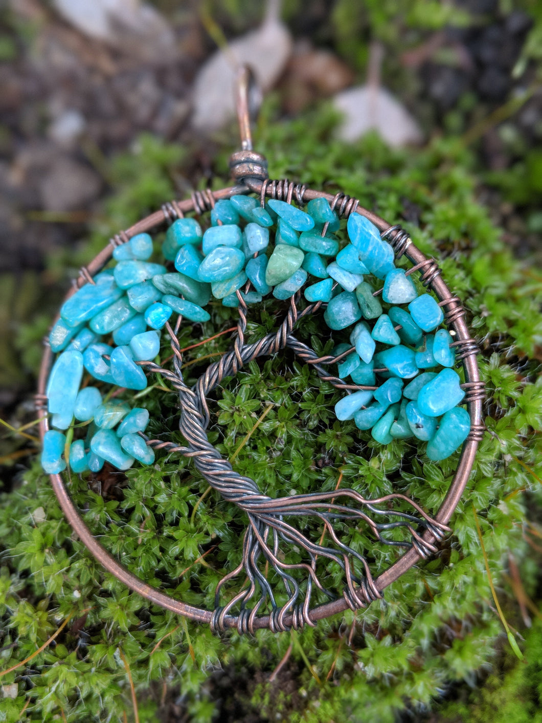 Turquoise Howlite Tree of Life Wire Wrap Pendant Dyed Howlite