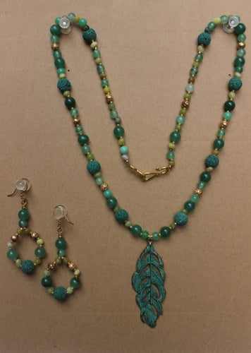 Green Lava Serpentine Reiki Healing Hand Made Drop Leaf Necklace With Earrings