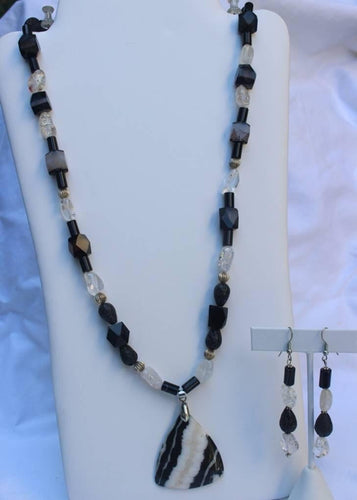 Yin Yang Quartz Onyx Obsidian Natural Mineral Reiki Healing Necklace With Earrings - One Of A Kind