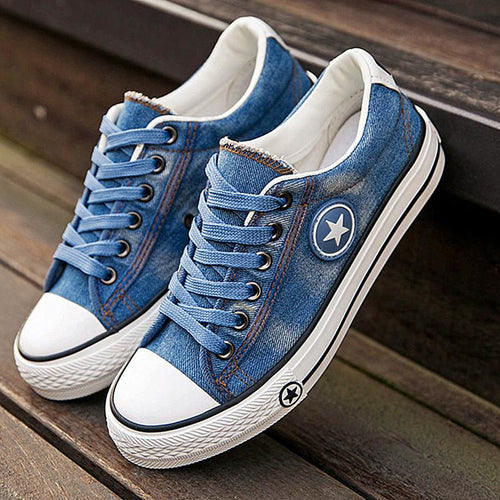 VL WOMENS RETRO DENIM STAR SNEAKERS - VansLovers.com
