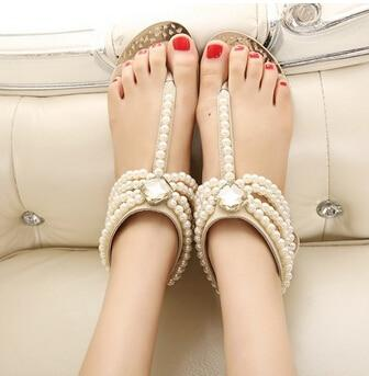 VL WOMENS BEADED GEM FLAT SANDALS - VansLovers.com