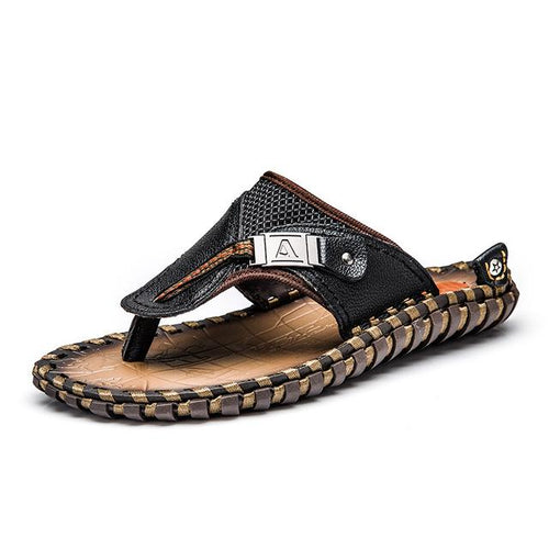 VL- Luxury Men Slippers Beach Shoes Men Flip Flops - VansLovers.com