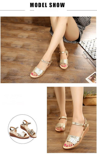 VL WOMENS METALLIC FLAT HEEL SANDALS - VansLovers.com