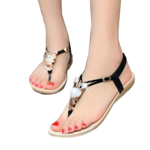 VL WOMENS OWL RHINESTONE FLAT SANDALS - VansLovers.com