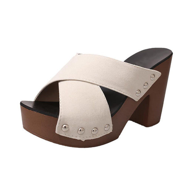 VL WOMENS CROSS STRAP CHUNKY THICK HEEL SANDALS - VansLovers.com