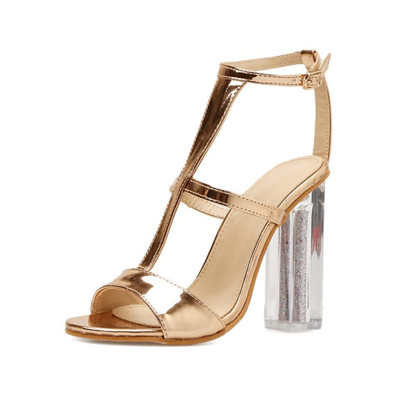 VL WOMENS SIMPLY GOLD AND CLEAR HIGH HEELS - VansLovers.com