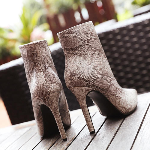 VL WOMENS SEXY SNAKE SKIN BOOTIES - VansLovers.com