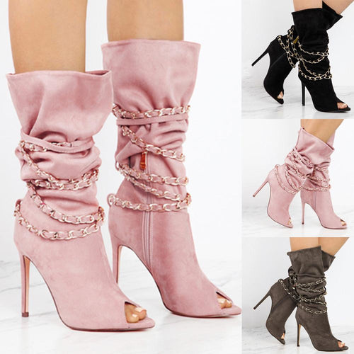 VL WOMENS STRAPPY CHAIN WRAP HIGH HEEL BOOTS - VansLovers.com