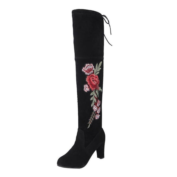 VL WOMENS FLORAL EMBROIDERED TALL BOOTS - VansLovers.com