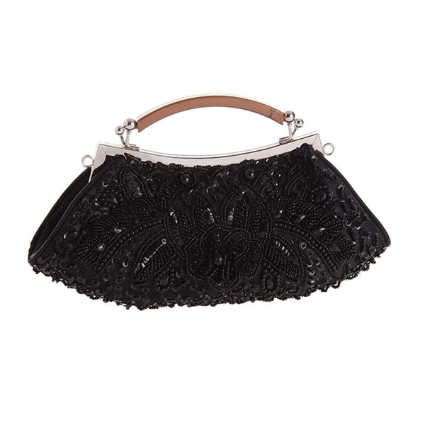 BEAUTIFUL BLACK BEADED EVENING PURSE - VansLovers.com