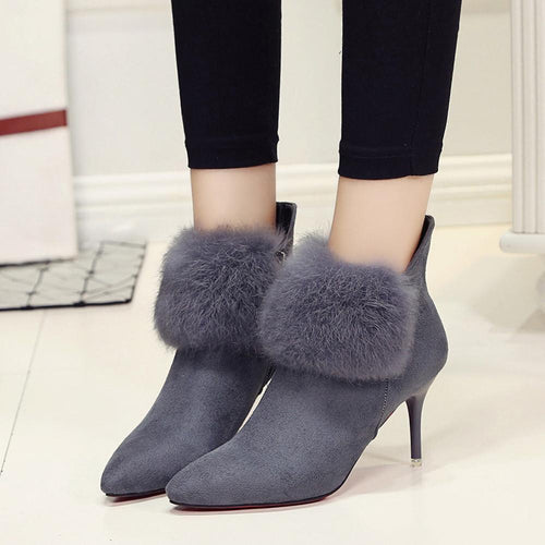 VL WOMENS SEXY FUR DETAIL BOOTIES - VansLovers.com