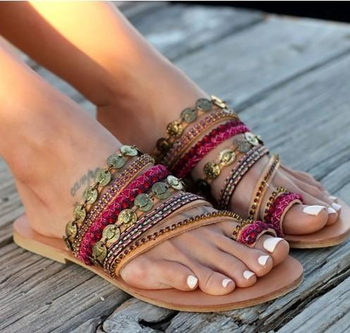 VL WOMENS BEADED STRAPPY SEXY SUMMER SANDALS - VansLovers.com