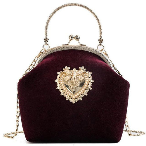 VINTAGE VELVET DREAM HEART CHARMED PURSE - VansLovers.com