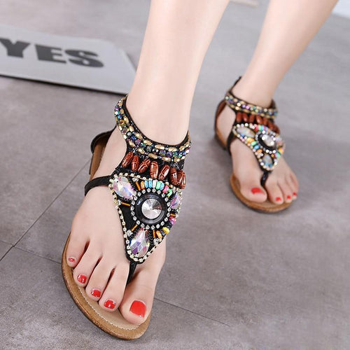 VL WOMENS BEADED GLADIATOR STYLE FLAT SANDALS - VansLovers.com