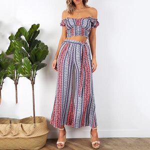Gosfashion One-Shoulder Collar Backless Sleeveless Top + Printed Cropped Trousers Two Piece Set
