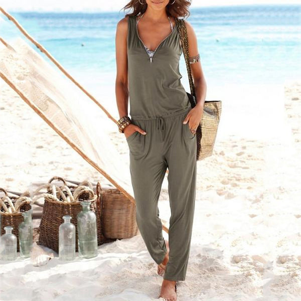 Gosfashion Sexy V Collar Sleeveless Slim Jumpsuit With Pockets