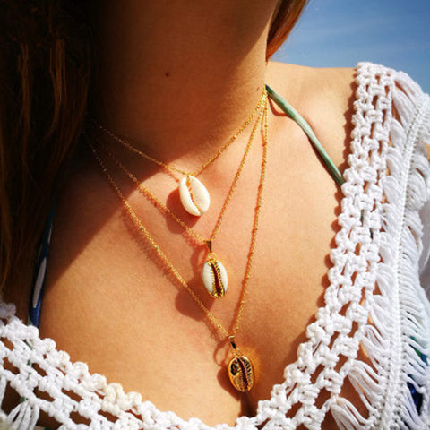 Gosfashion Geometric Shell Conch Inlaid With Gold Ball Three-Layer Pendant Necklace