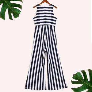 Stripe Sleeveless Wide Leg Jumpsuit