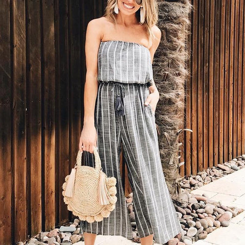Gosfashion Casual Off Shoulder Striped Defined Waist Jumpsuit