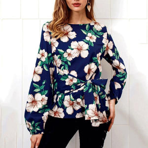 Fashion Round Collar Floral Printed Shirt