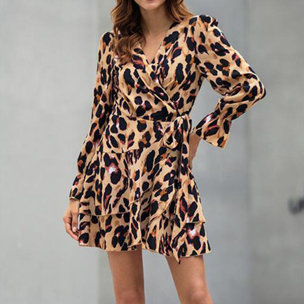 Sexy V Collar Leopard Printed Shift Dress