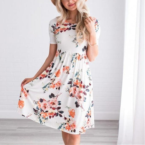 Printed Round Neck Pleated Short-Sleeved Mini   Dress