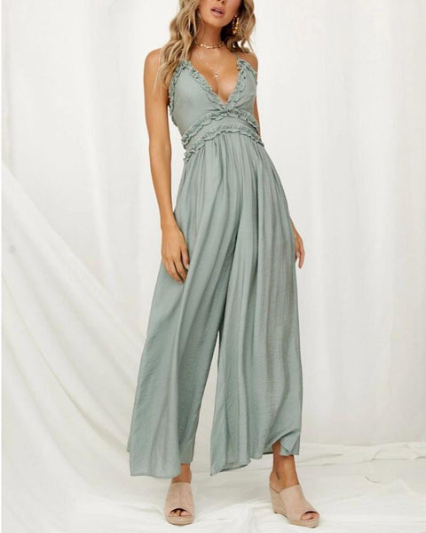 Gosfashion V-Neck Sling Sexy Flowing Jumpsuit