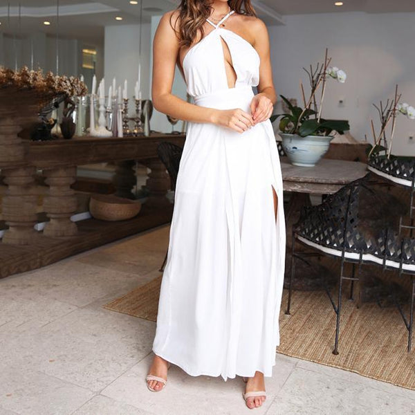 Gosfashion Sexy Fashion Suspenders Open Back Solid Color Tie Loose Loose Jumpsuit