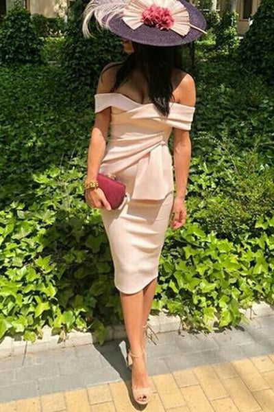 Gosfashion Sexy Apricot Off Shoulder Short Sleeves Bodycon Dress