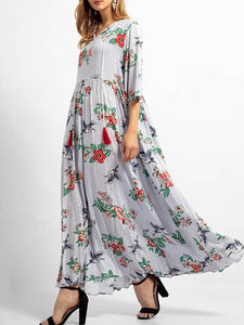V Collar Printing Long Sleeve Maxi Shift Dress