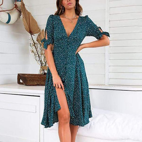 Gosfashion Fashion Print Polka Dot Button Vacation Dress