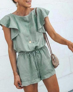 Gosfashion Fashion Round Neck Ruffle Sleeve Waist Playsuit