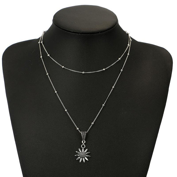 Gosfashion Bohemian Sunflower Flower Alloy Long Round Beaded Silver Necklace