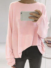 Load image into Gallery viewer, Loose Round Neck Long Sleeve Plain T-Shirts