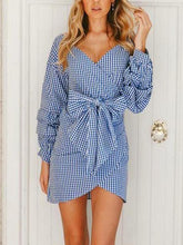 Load image into Gallery viewer, Fashion Plaid Long Sleeve Mini Dress
