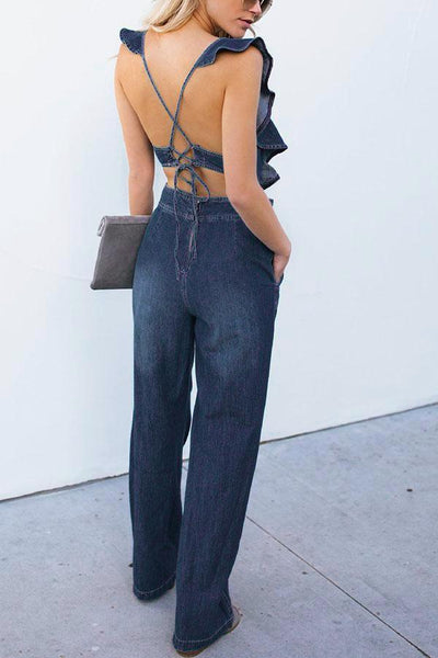 Gosfashion Sexy Light Blue Sleeveless Denim Jumpsuit