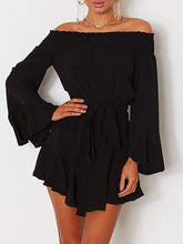 Load image into Gallery viewer, Fashion Plain Off Shoulder Long Sleeve Mini   Dress