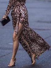 Load image into Gallery viewer, Sexy Leopard Print Side Vented Long Sleeve Maxi Dresses