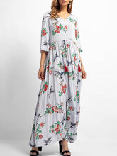 Load image into Gallery viewer, V Collar Printing Long Sleeve Maxi Shift Dress