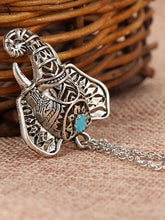 Load image into Gallery viewer, Retro Silver Carving Elephant Turquoise Necklace