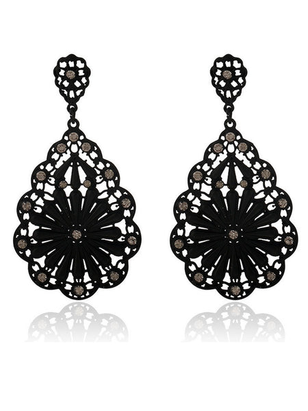 Gosfashion Vintage Hollowed Water Drop Earrings
