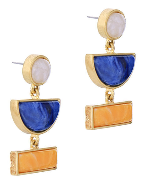 Gosfashion Geometric Color Block Resin Drop Earrings