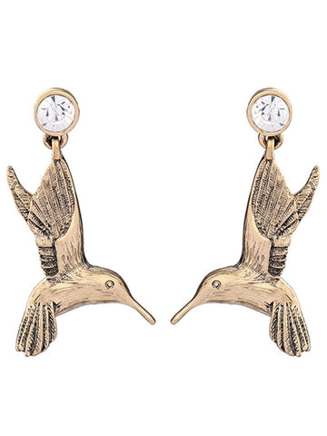 Gosfashion Bird-Shaped Rhinestone Drop Earrings